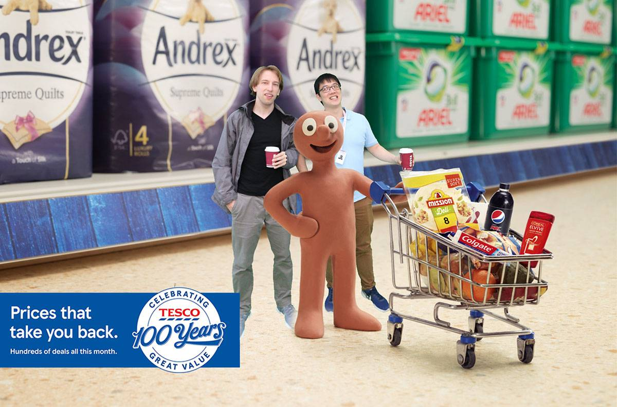 green screen photo with Morph at Tesco